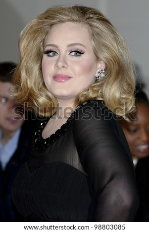 Adele arriving for the Brit Awards 2012 at the O2 arena, Greenwich, London. 21/02/2012 Picture by: Steve Vas / Featureflash