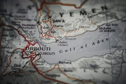 Aden city in Yemen on a geographical map