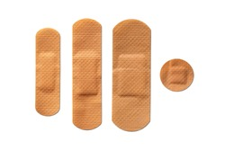 Adhesive bandages isolated on white background. Collection of medical plasters