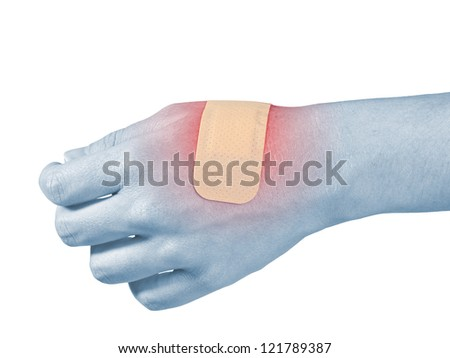 Adhesive Healing plaster on hand finger. Pain concept photo.
