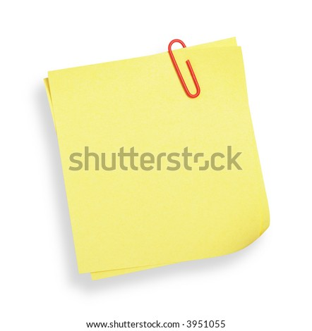 adhesive note on white background(with clipping path)