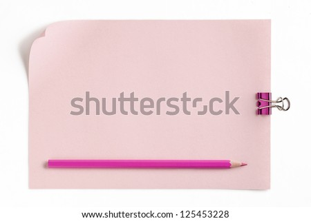 Adhesive note with pink paperclip and pink pencil isolated on white