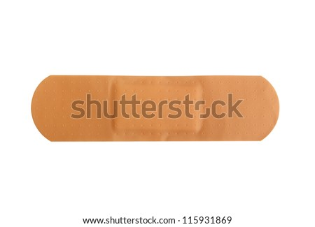 Adhesive patch on a pure white background