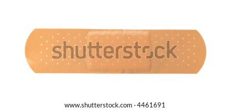 Adhesive plaster isolated on white background.