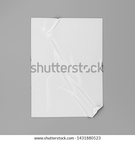 Adhesive poster or sticker on a surface mockup. 3d illustration