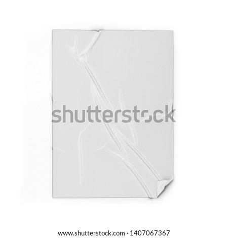 Adhesive poster or sticker on a surface mockup. 3d illustration isolated on white background