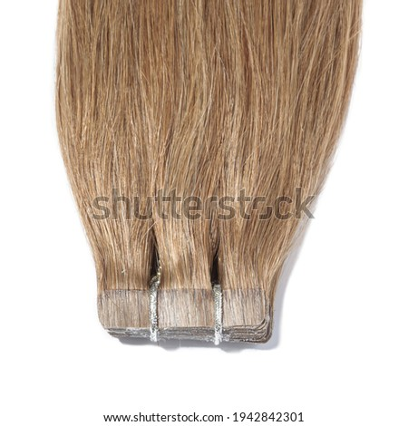 adhesive tape in straight medium brown remy human hair extensions Photo stock ©
