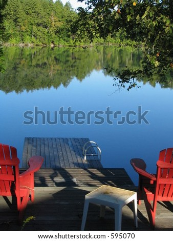 adirondack chairs facing the...