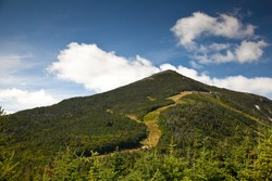 Adirondack Whiteface mountain forests trail landscape view, Lake Placid, USA