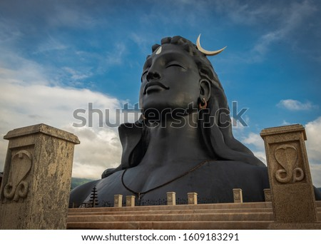 adiyogi shiva statue from unique different perspectives image is taken at dhyanlinga coimbatore india on jan 02 2020. it is the shiva statue made of steel at the foothills of Velliangiri mountain.