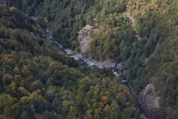 Adjara river in a mountain gorge aerial view Georgia
