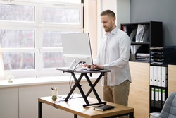 Adjustable Height Desk Stand For Office Computer