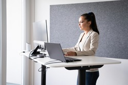 Adjustable Height Office Desk. Working While Standing