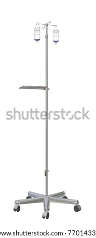 Adjustable mobile medical  iv pole with intravenous fluid bottles, 3d illustration, isolated against a white background