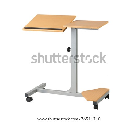 Adjustable notebook or laptop computer table isolated on white
