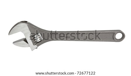 adjustable spanner (monkey spanner) isolated over white