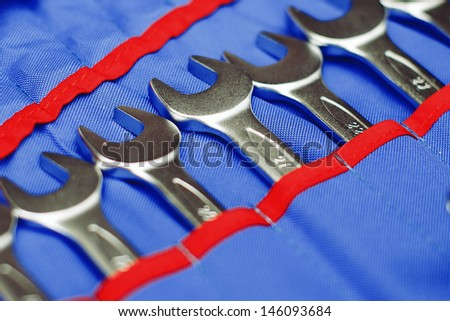 adjustable spanners in a blue cover