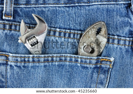 Adjustable Wrench and Pliers in Blue Jeans Pocket