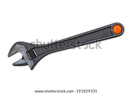 Adjustable wrench for tighten or loosen nut and bolt, isolated on white background with clipping path