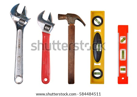 b692788e88a ... Adjustable Wrench hammer and bubble spirit levels worker tools  equipment with clipping path.