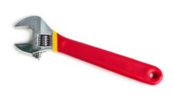 Adjustable wrench with red rubberized handle, isolated on white background