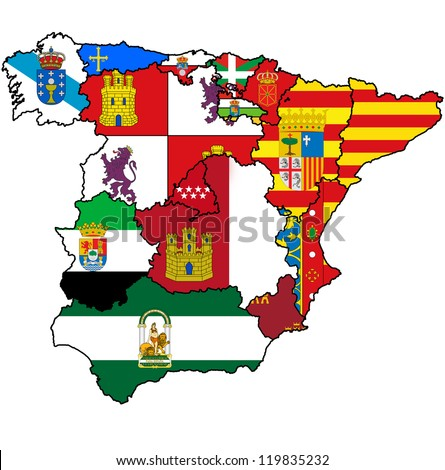 administration map of regions of spain with flags and emblems