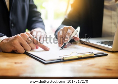 Administrator business man financial inspector and secretary making report, calculating balance. Service checking document. Audit team work discussting concept Stock foto ©