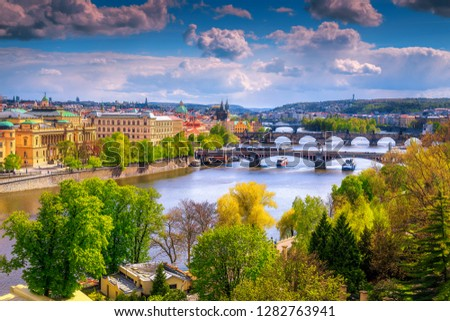Admirable European touristic city view from the best visited excursion place. Gorgeous spring panorama with Vltava river and famous Charles bridge, Prague, Czech Republic, Europe