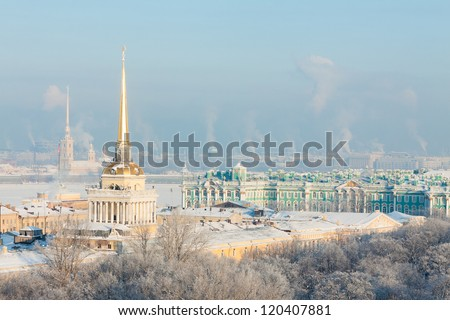 Admiralty and Peter, Hermitage and Paul Fortress in winter. View from St. Isaac's Cathedral, St. Petersburg, Russia