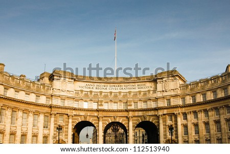 Admiralty Arch in London is a historic tourist destination leading to the Royal Palace