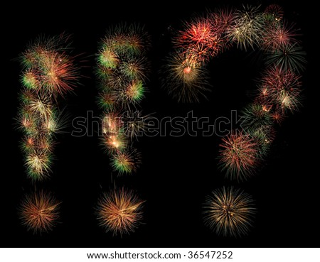 Admiration and exclamation marks made of fireworks.