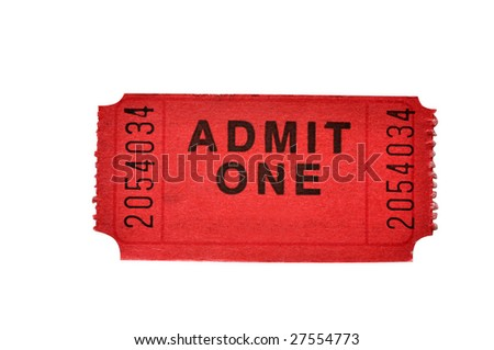 Admission ticket isolated on white background with clipping path.