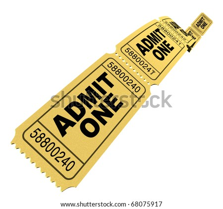 Admit one pass multi movie tickets yellow isolated on white