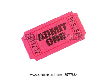 Admit One Ticket isolated on pure white bacground