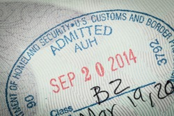 admitted stamp of USA American Visa for immigration travel concept