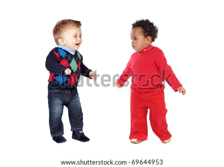 Adoable couple of babies isolated on a over white background