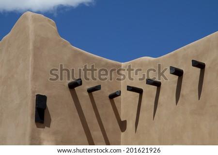 Adobe architecture on the plaza of Santa Fe, New Mexico.