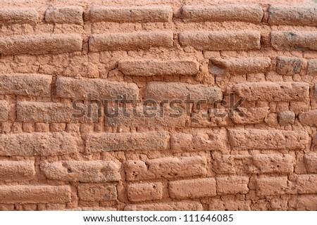 Adobe Brick Wall in Santa Fe, New Mexico USA