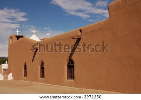 Adobe church at Taos Pueblo in Taos, New Mexico