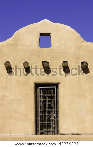 Adobe Hispanic style construction on dwelling in Taos, New Mexico