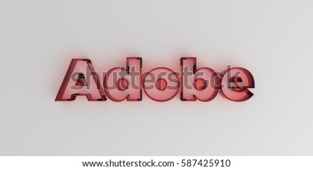 adobe   red glass text on white ...