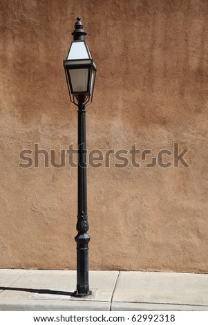 Adobe Wall and Streetlight