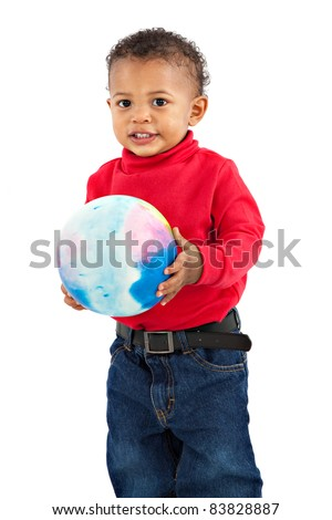 Adorable African American Boy Playing Bounce Ball Isolated on White Background