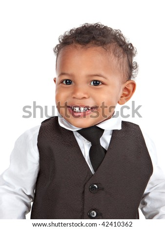 Adorable African American Boy Wearing Formal Wear Portrait Isolated on White