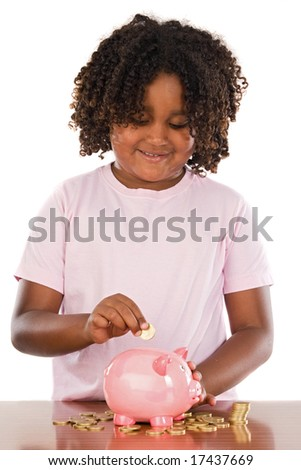 Adorable african girl putting a coin in a piggbank a over white background - stock photo