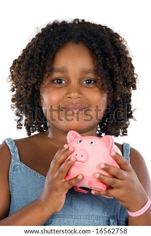 adorable African girl with pink piggy bank in your hands