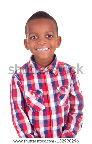 Adorable african little boy isolated