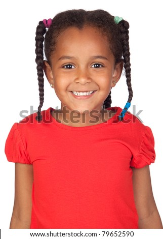 Adorable african little girl isolated over white