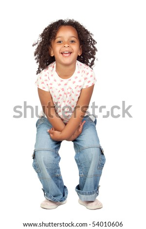 stock photo : Adorable african little girl with beautiful hairstyle isolated