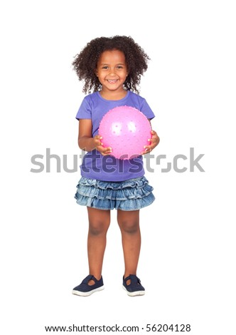 Adorable african little girl with pink ball isolated over white